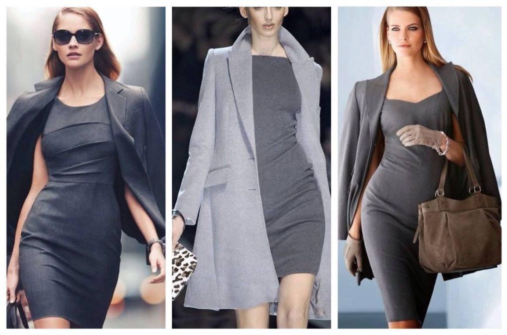 Элегантные серые платья