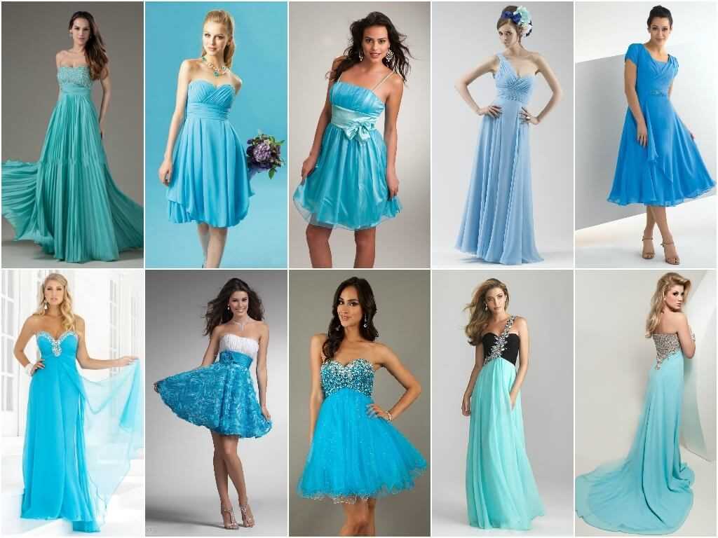 Голубые платья 2018