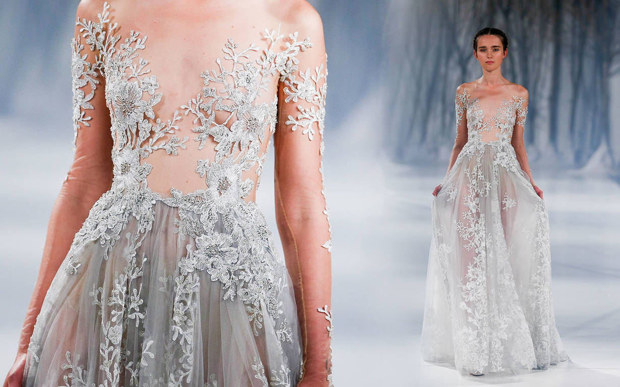 Платье невесты с кружевами Reem Acra