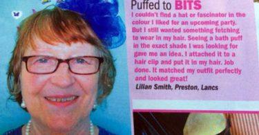 английская пенсионерка Лилиан Смит с синей мочалкой на голове