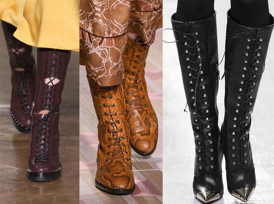 Модные сапожки на шнуровке